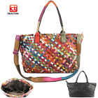 Genuine Lambskin Leather Women Tote Woven Bag Shoulder Shopping Purse Handbag