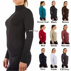 Women Mock Neck Long Sleeve Shirt Turtleneck Top Stretch Sli