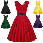50s Retro Vintage Housewife Swing Sleeveless Sweetheart Evening Party TEA Dress