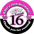 1x A4 sheet Personalised Sweet Sixteen 16th Birthday Party Bags Stickers Labels