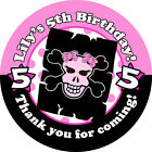 1x A4 sheet Personalised Girls Pirate Birthday Party Bags Stickers Labels