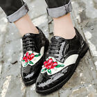 Womens Flats Diamond Patent Leather Platform Oxfords Lace Up Casual Shoes US4-8