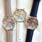 Fashion New Analog Men Unisex World Map Vintage Earth Women Quartz Watches