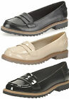 GRIFFIN MILLY LADIES CLARKS SLIP ON LEATHER BLOCK HEEL LOAFER CASUAL SHOES