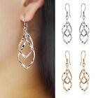 Simple Women Silver Plated Fashion Lady Dangle Ear Stud Hoop Earrings Jewelry
