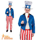 Adult Uncle Sam Costume American Army Independence Fancy Dress Outfit Mens New