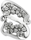 Womens Sterling Silver Elegant Wave Long Filigree Flowers Ring size 7 8 9 10