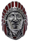 Sterling Silver Synthetic Red Carnelian Indian Chief Head Ring Big & Heavy