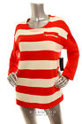 NEW TOMMY HILFIGER Women Long Sleeve Striped Zip Pocket Top Coral Beige Size L