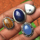 CHALCEDONY WHOLESALE LOT 4 PCS MIX STERLING SILVER OVERLAY AMAZING RINGS