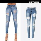 UK New Womens Stretch Ripped Frayed Ladies High Waist Denim Trousers Pants Jeans