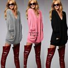 Womens Pullover Ladies V-neck Long Sleeve Casual Blouse Loose Top T-Shirt TXSU
