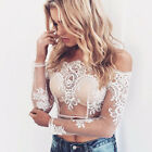 Sexy Women/Lady Off Shoulder Lace Blouse Short  Sleeves Tops Crochet Shirt Tee