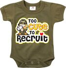 Olive Drab Too Cute To Recruit Newborn Baby Infant Suit One Piece Suit