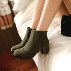 Retro Women's New Round Toe Cuban Block Heel Ankle Boots Pull On Shoes All Size