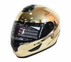 NENKI FULL FACE HELMET NK-852 CHROME GOLD SUN SHIELD UV PROTECTION MOTORCYCLE