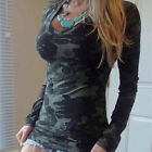 Fashion Sexy Women Tops V-neck Long Sleeve Camouflage Blouse Casual T-Shirt Plus