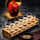 Launching run Glass Set + Wood Wine Cup Holder Rack Fr Cocktail Tequila Whiskey Vodka