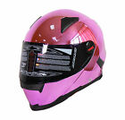 NENKI FULL FACE HELMET NK-861 CHROME PINK SUN SHIELD MOTORCYCLE HELMET