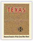 Texas Cattle Brands Lone Star Vintage Railroad Travel Art Poster Print Giclée