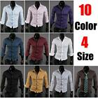 Hot New Korean Stylish Mens Slim Fit Luxury Long Sleeve Casual Dress Tee Shirts