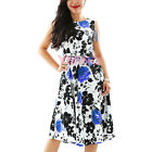 Womens Swing Dress Long Vintage 1950's Floral Spring Garden Party Cocktail Dress