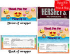 20 Personalized EMOJI Full-Size Candy Bar Wrappers Party Favors Pre-Cut w/Foil
