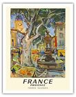 Provence France Aix-en-Provence Over the hill Railway Travel Art Poster Print Giclée