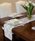 "GREY & WHITE MODERN CONTEMPORARY TRELLIS TABLE RUNNER MAT TOPPER  PARTY 72"" 90"""