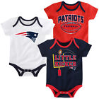 New England Patriots Baby Infant 3-Piece Set of Rompers Creepers