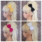 "NEW ALICE HAIR HEAD BAND 4"" SIDE BOW BLACK PINK YELLOW OR WHITE PLAIN FABRIC"