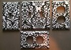 BLACK AND WHITE DAMASK LIGHT SWITCH COVER PLATES COUNTRY ROO