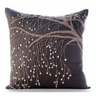 """Nature Trail - Brown 12""""x12"""" Cotton Linen Pillow Covers"""