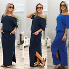 Fashion Women's Half Sleeve Side Split Long Maxi Jersey Stretch Dress Casual Top