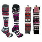 3 Pairs Ladies Thick Welly Knee High Fairisle Design Thermal Socks Size 4-7