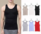 Men's 100% Pure Silk Knitted Tank Top Silk T Shirts Casual Tee Size S~3XL