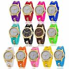 Women Ladies Fashion Chain Trim Soft Band Wristwatch Quartz Watch Multicolor