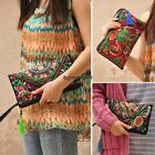 Women Handbag Purse Retro Embroidered Phone Change Coin Bag With Tassel OO55