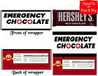 20 Personalized EMERGENCY CHOCOLATE Full-Size Candy Bar Wrappers Pre-Cut w/Foil
