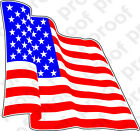 STICKER PATRIOTIC USA FLAG RED WHITE & BLUE WAVING RIGHT