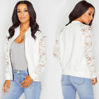 New Fashion Womens FLoral Lace Bomber Jacket Ladies Vintage Zipup Biker Coat UR
