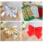 12X Christmas Bows Bowknot Tree Hanging Ornament Home Xmas Party Decoration Gift