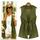 Women Fashion Sleeveless Long Waistcoat Blazer Jacket Trench Vest Cardigan Coat