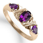 18k Solid Rose Gold Three Stone Amethyst Ring 1.00ct. Ring SZ 4 to 9.5 R1276 NEW