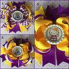 LSU Tigers Purple & Gold Chevron Hello Kitty Layered Bottle Cap Hair Bow 5""