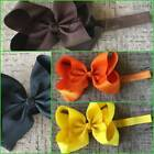 "Large 6"" Bow Headband Fall Autumn Halloween Thanksgiving Black Orange Brown Gold"