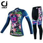 Cycling Jersey Flowers Printing Long Sleeves Bike Bicycle Clothing Sets Women's