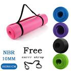 72in x 24in 10mm Yoga Mat Exercise Washable Meditation Gym Pad w/Carry strap