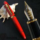 Thick Jinhao 159 Elegant Red and Golden 18KGP 0.7mm Broad nib Fountain Pen