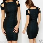 568 PANEL CLOSE-FITTING BODYCON STRETCH DRESS CUT OUT SHORT SLEEVE SIZE S M L